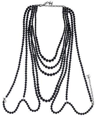 Chanel Black Bead Sweater Necklace