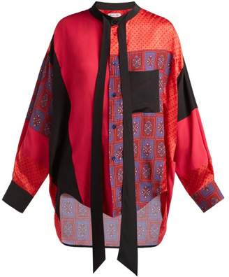 Balenciaga Swing Patchwork Print Panel Silk Blouse - Womens - Red Multi