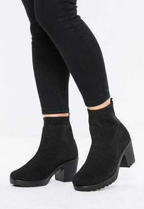 Missguided Black Knit Tape Cleated Sole Boots
