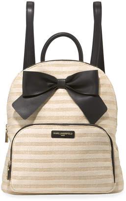 Karl Lagerfeld Paris Kris Striped Straw Bow Backpack