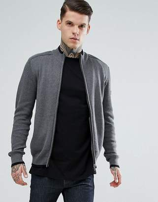 Ben Sherman Zip Through Panel Knit Sweater