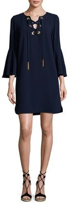 Trina Turk Xandra Bell-Sleeve Corset Shift Dress, Blue $298 thestylecure.com