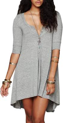 WO-STAR Women's Half Sleeve Irregular Hem Casual Loose Swing T-Shirt Tunic Top Dress L