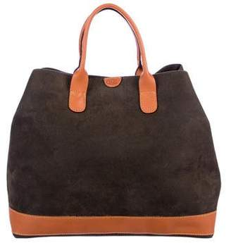 Bric's Leather-Trimmed Suede Tote