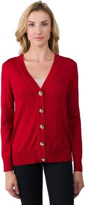L・I・U JENNIE LIU Women's 100% Merino Wool Long Sleeve V Neck Button Cardigan Sweater
