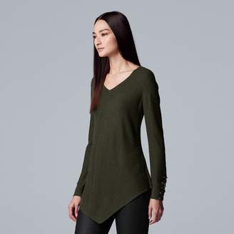 Vera Wang Women's Simply Vera Lace-Up Asymmetrical V-Neck Sweater