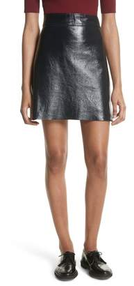 Theory Crinkled Patent Leather Miniskirt