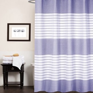 "Popular Bath Pacey 100% Cotton Fabric Striped Shower Curtain 70"" x 72"""