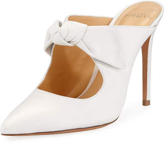 3392125d382 Alexandre Birman High-Heel Leather Point-Toe Bow Mules
