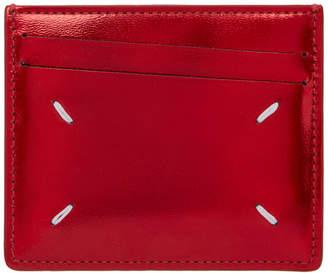 Maison Margiela Red Metallic Leather Card Holder