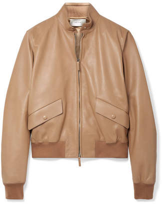 The Row Erhly Leather Bomber Jacket - Sand
