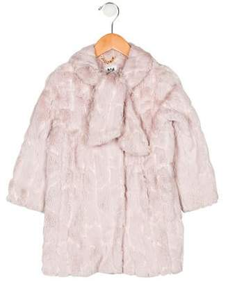 Milly Minis Girls' Faux Fur Sequin Jacket