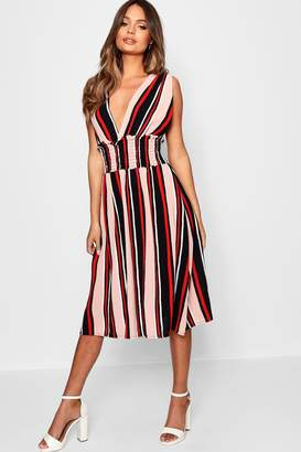 boohoo Plunge Front Striped Shirred Waist Midi Dress