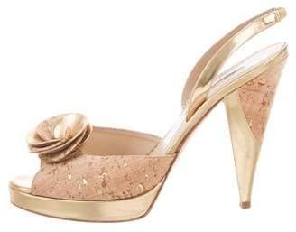 Oscar de la Renta Cork Slingback Sandals