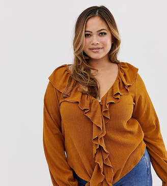 Asos DESIGN Curve top with button front and ruffle in textured fabric