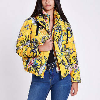River Island Womens Yellow floral layer hooded puffer jacket