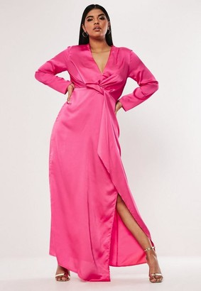 Missguided Plus Size Pink Satin Thigh Split Maxi Dress