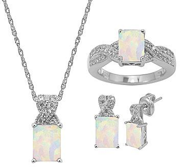 JCPenney FINE JEWELRY Lab-Created Opal & White Sapphire 3-pc. Octagon Jewelry Set