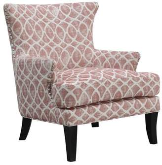 Emerald Home Blythe Dusty Rose and Ivory Accent Chair with Graphic Upholstery And Nailhead Trim