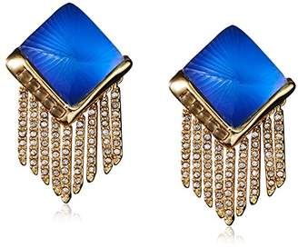 Alexis Bittar Fringe Pyramid Clip-Cabochon Earrings