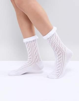 Asos Design Crochet Lace Frill Ankle Socks