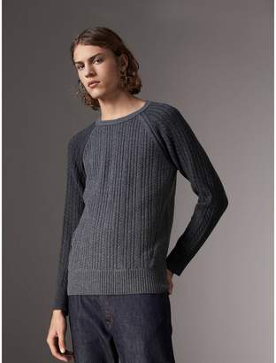 Burberry Two-tone Cable Knit Cashmere Sweater