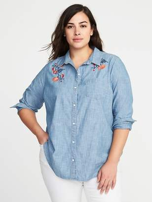Old Navy No-Peek Plus-Size Embroidered Chambray Shirt