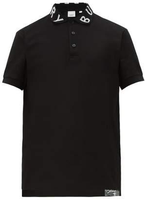 Burberry Ryland Logo Collar Cotton Pique Polo Shirt - Mens - Black