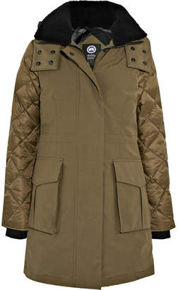 Canada Goose Elwin Shearling-trimmed Quilted Shell And Canvas Down Parka - Army green