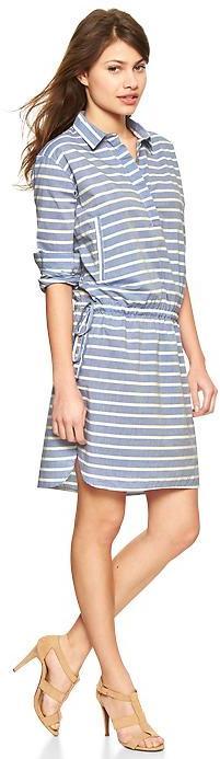 Gap Stripe drawstring shirtdress