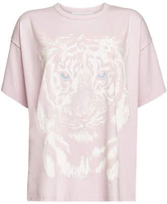 See by Chloe Cotton T-Shirt with Tiger Print