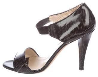Oscar de la Renta Patent Stripe Sandals