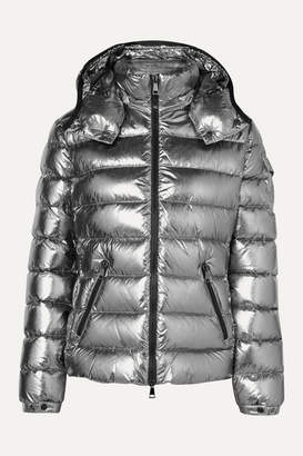 Moncler Metallic Hooded Quilted Shell Down Jacket - Silver