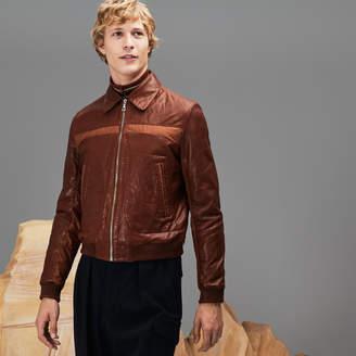 Lacoste Men's Fashion Show Zippered Panel Leather Jacket
