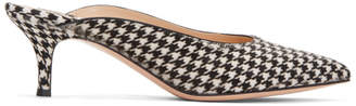 Gianvito Rossi Black and White Calf Hair Houndstooth Mules