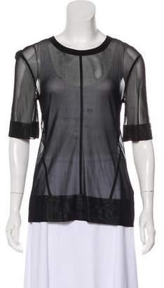 J Brand Semi-Sheer Short-Sleeve Top w/ Tags