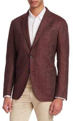 Ermenegildo Zegna Men's Textured Notch Blazer - Bordeaux - Size 56 (46) R