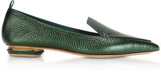 Nicholas Kirkwood Beya Metallic Emerald Green Tumbled Leather Loafers