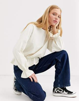 Monki oversized jersey top with balloon sleeves in off white