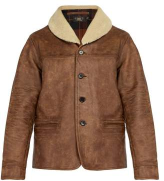 Rrl - Shearling Collar Leather Jacket - Mens - Brown