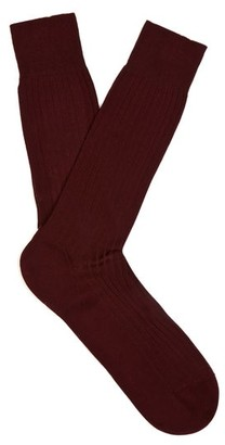 Pantherella - Danvers Ribbed Knit Socks - Mens - Burgundy