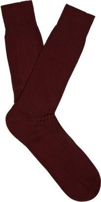 Pantherella Danvers Ribbed Knit Socks - Mens - Burgundy