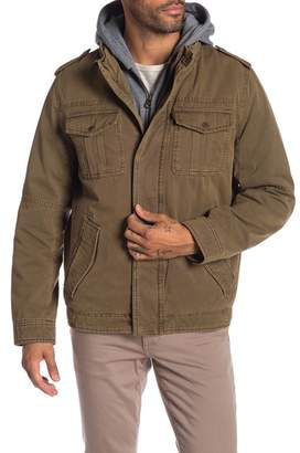Levi's Faux Shearling Lined Military Jacket with Hoodie