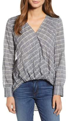 Caslon Faux Wrap Cotton Top (Regular & Petite)