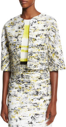 Carolina Herrera Half-Sleeve Open-Front Cropped Jacket, Black/Yellow