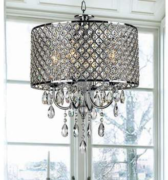 Willa Arlo Interiors Aurore 4-Light LED Crystal Chandelier