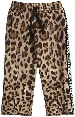 Dolce & Gabbana Leopard Print Cotton Sweatpants