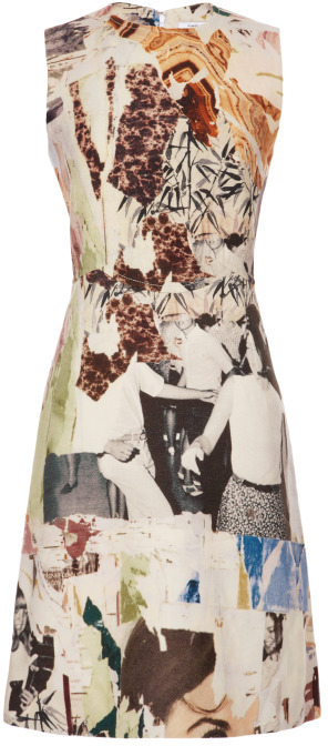 Carven Sleeveless Printed Wool Canvas Dress