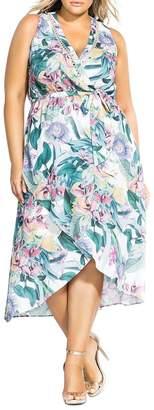 City Chic Plus Floral-Print Faux-Wrap Dress