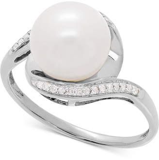 Honora Style Cultured Freshwater Pearl (9mm) & Diamond Accent Ring in 14k White Gold